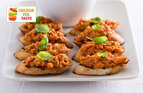 Crostini with red pepper tapenade