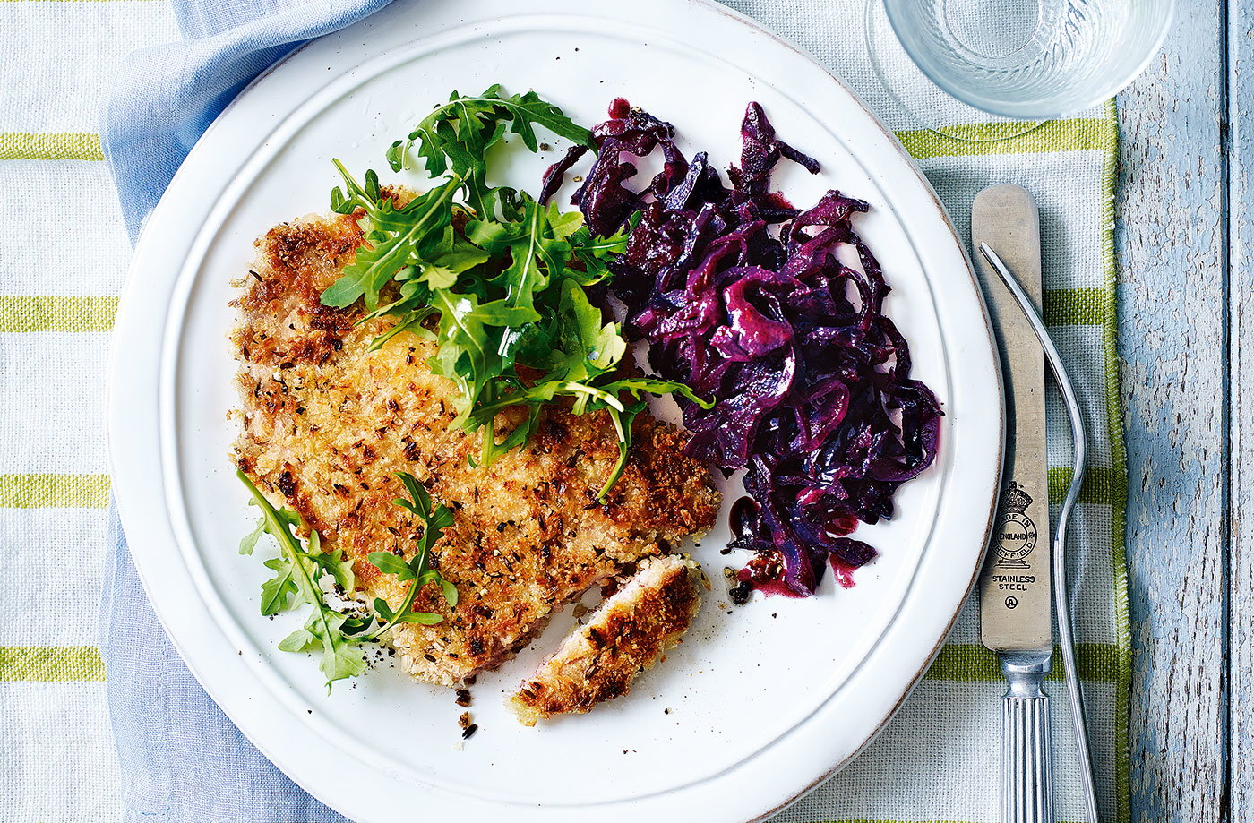 Crumbed pork chops with braised red cabbage recipe