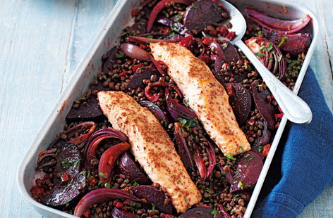 Orange-glazed salmon with beetroot, chorizo and lentils