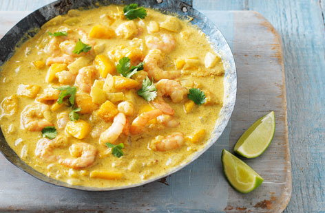 A classic, creamy korma-spiced curry with fresh king prawns and sweet, juicy mango - this flavour-packed main can be prepared in just 20 minutes and is the perfect midweek meal for one or two