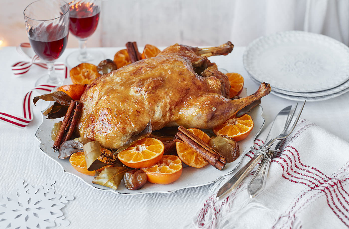 Spiced roast duck with clementines and a maple and mustard glaze