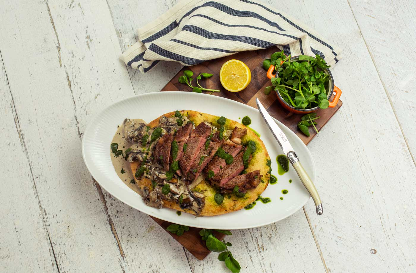 Seared steak flatbread sharer recipe