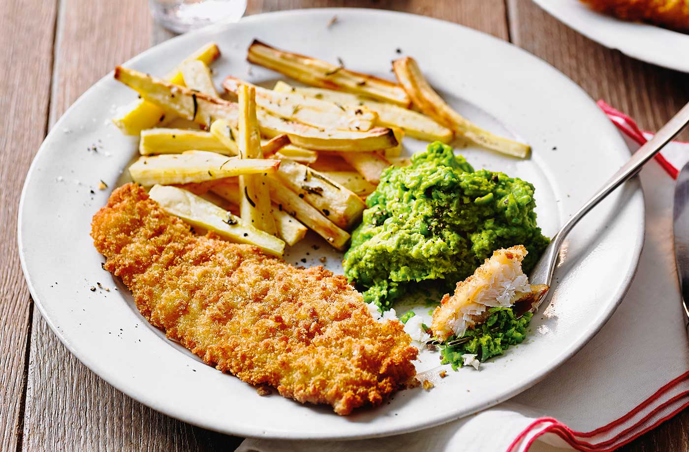 Fish with parsnip chips and cheat's mushy peas recipe