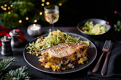 Pilaf-stuffed sea bass with sprout slaw