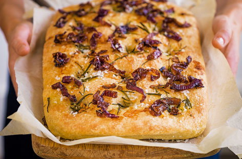 Focaccia out of oven(T)