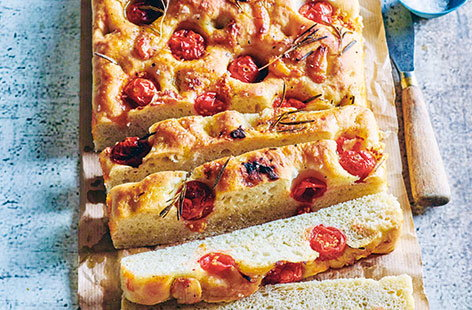 Roasted garlic, tomato and rosemary focaccia