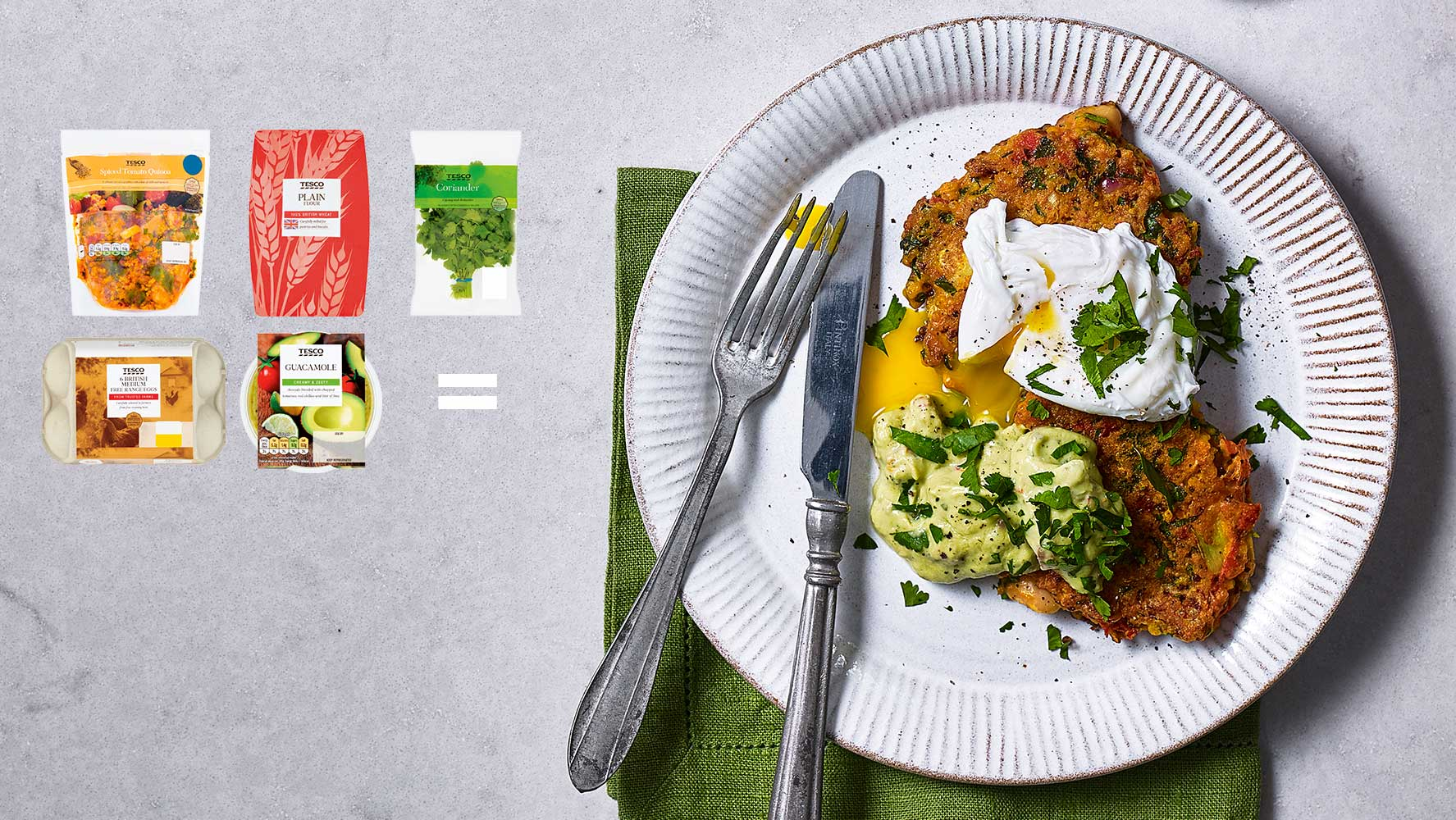 5-ingredient – Spiced vegetable fritters with poached egg