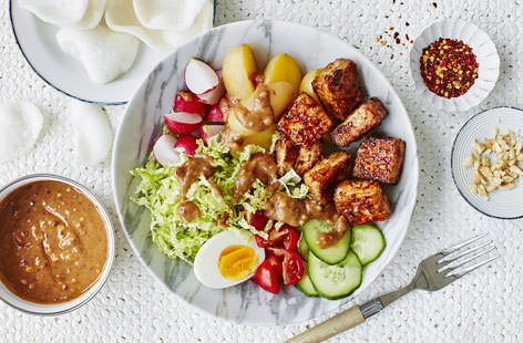 This tofu-packed salad bowl is seriously stunning. Literally translating to 'mix mix', gado gado is an Indonesian classic that really celebrates bold flavours by combining with crisp, fresh ingredients