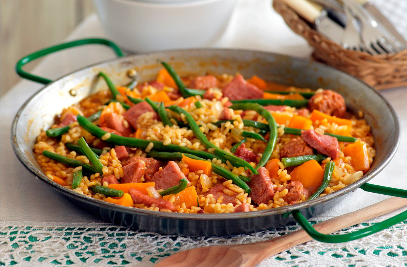 Gammon and sausage paella recipe