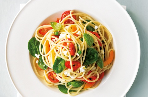 Garden vegetable spaghetti with feta and basil thumbnail