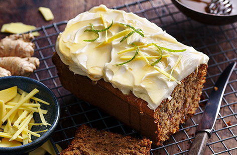 The addition of fresh ginger and pitted dates to the batter makes this simple loaf cake wonderfully moist