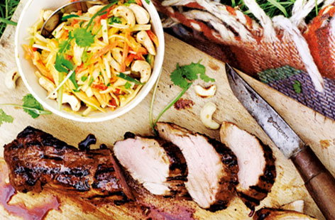 Ginger pork with crunchy peanut slaw