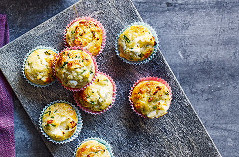 These mini savoury muffins, packed with creamy goat's cheese, silky baby spinach and fragrant chives, are perfect for packing into your lunch box or enjoying as an afternoon treat