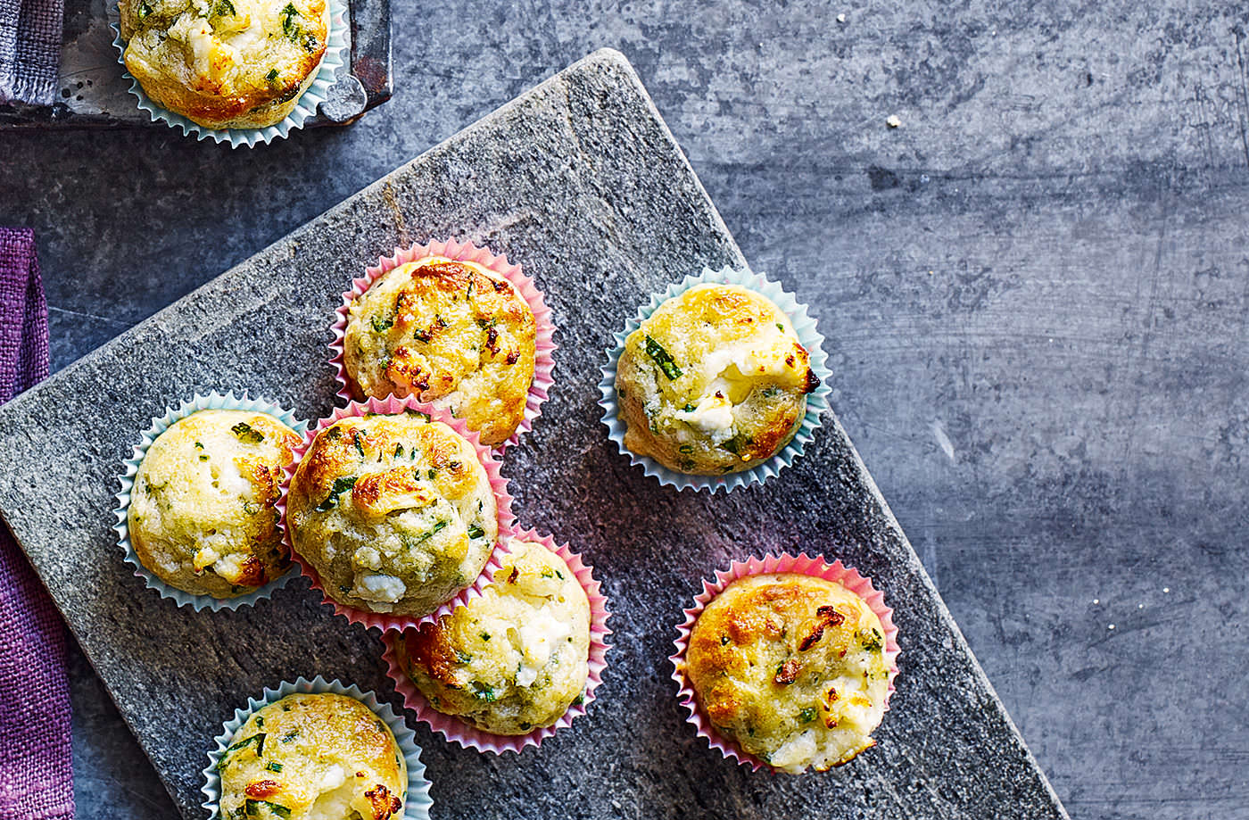 Goat's cheese, spinach and herb mini muffins recipe