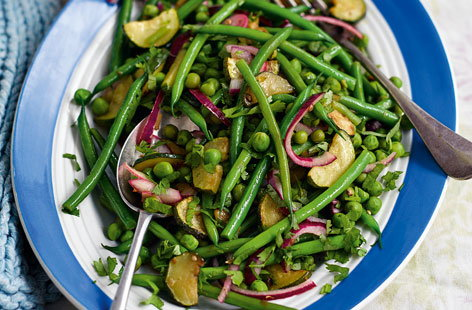 Green bean, courgette and pea tumble