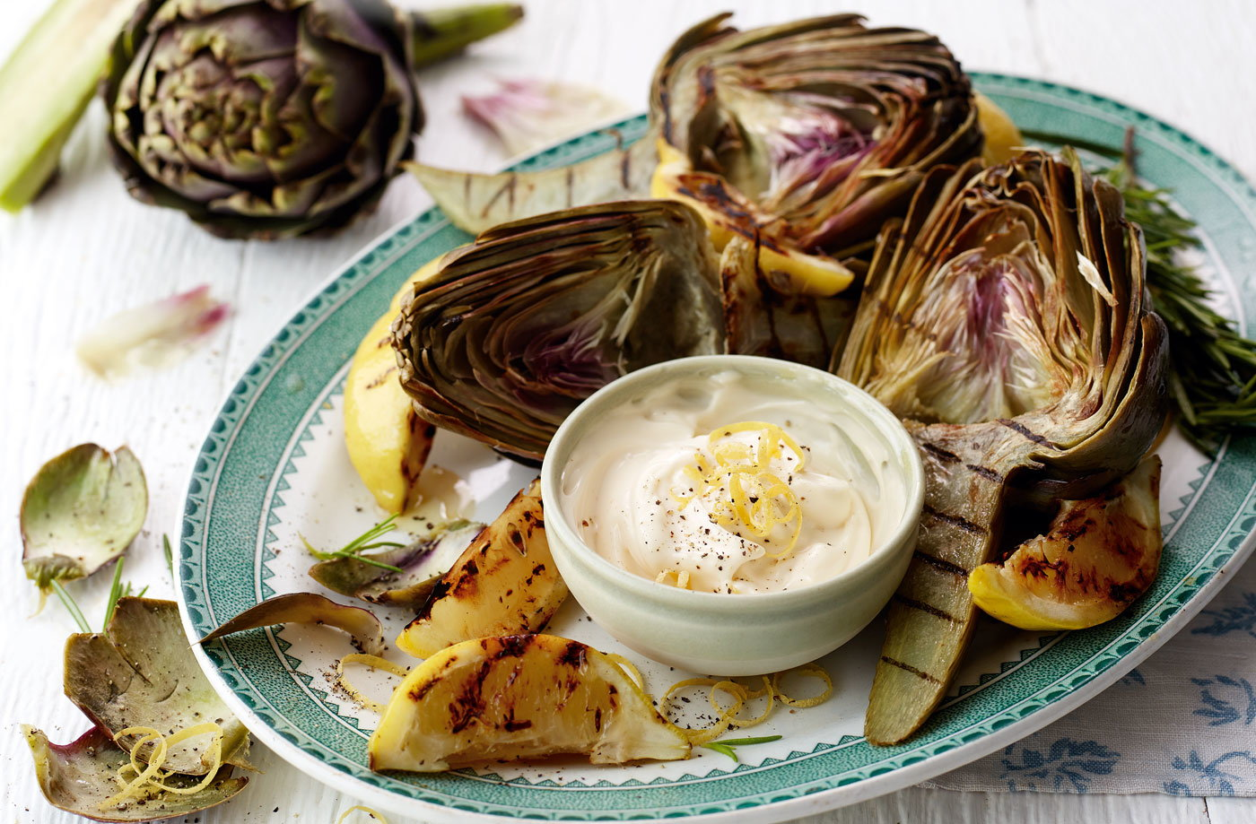 Griddled artichokes with lemon aïoli recipe