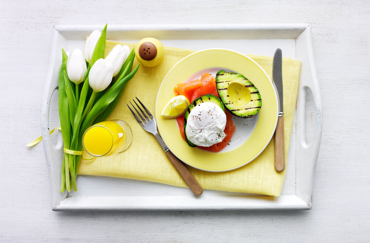Griddled avocado, poached egg and smoked salmon recipe