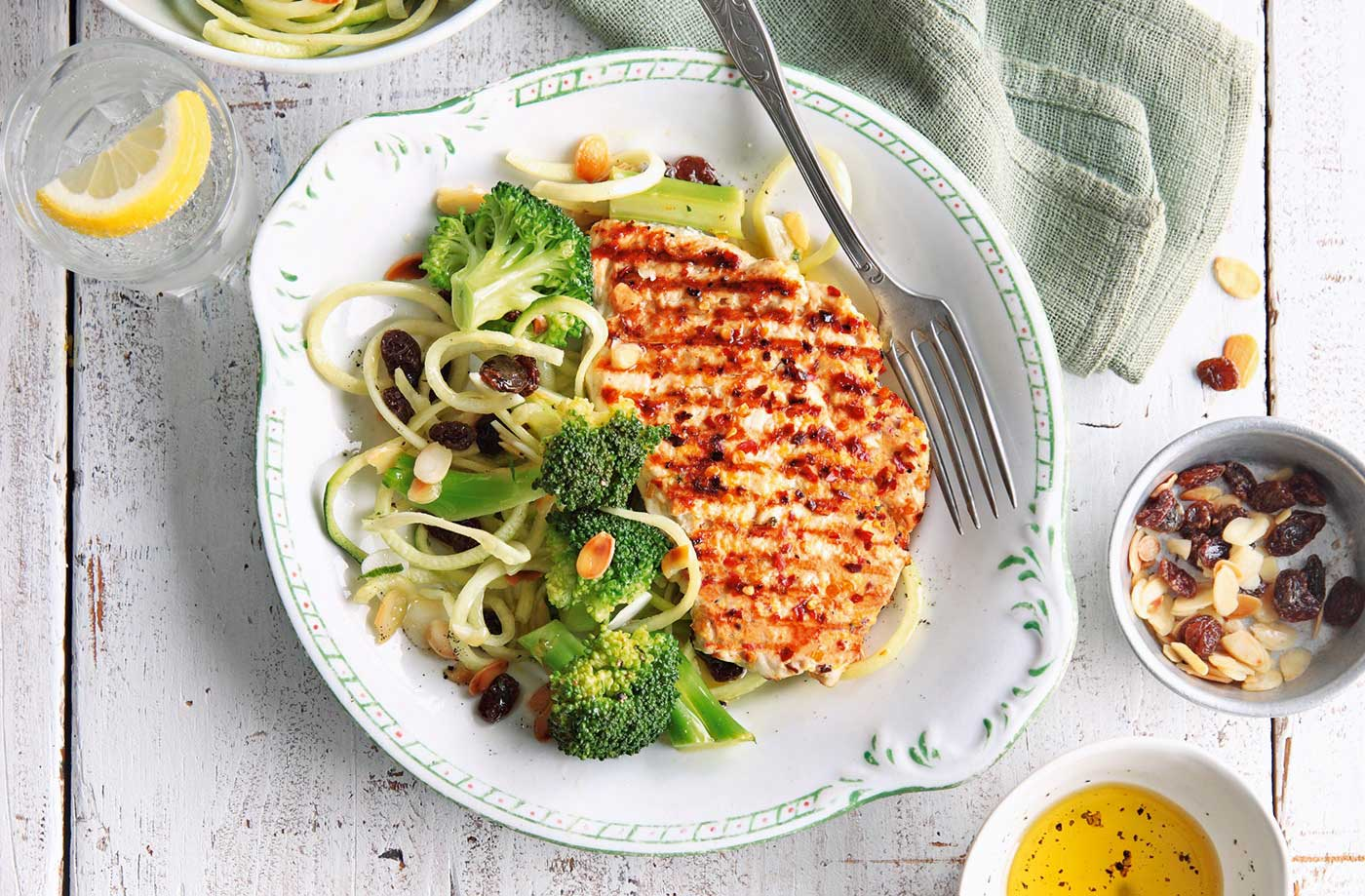 Griddled chicken with almond courgetti recipe