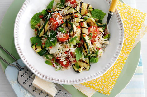 Griddled courgettes with minty couscous THUMB