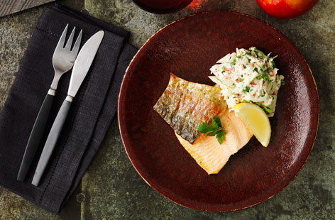 Grilled Trout with Kanzi Apple & Fennel Remoulade (t)
