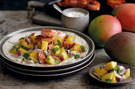 Grilled chipotle salmon tacos with mango salsa(t)