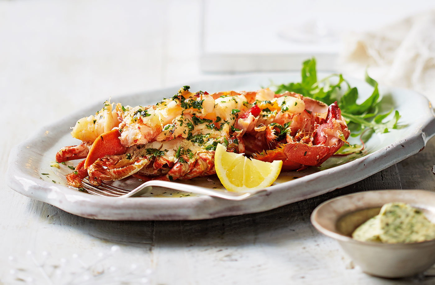 Grilled lobster with garlic and herb butter recipe