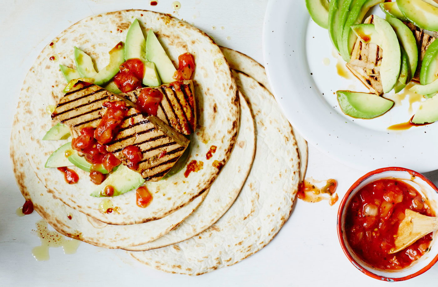 Grilled tofu wraps with salsa and avocado recipe