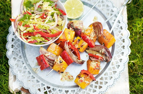 Grilled veggie skewers with Asian slaw THUMB