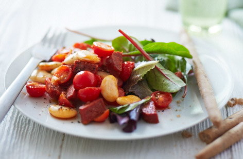 Warm butterbean and chorizo salad