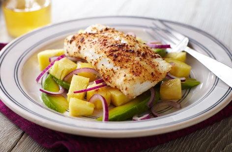 Cajun fish and pineapple salad tesco real food for Cajun fish recipes