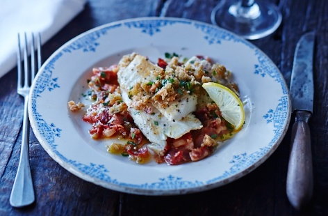 Sea bass with tomato and bacon sauce recipe