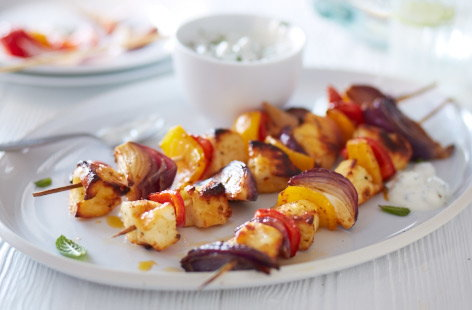 Grilled halloumi and sweet pepper kebabs recipe