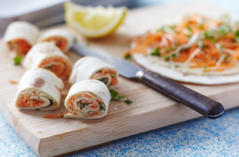 Houmous and carrot tortilla pinwheels