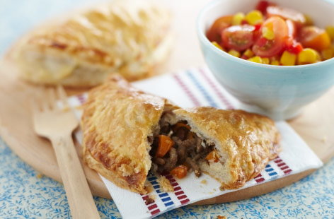 Make these mini beef pasties for the kids – in fact, it's a great one to try and make with them, too. Puff pastry is used for ease and filled with the beef and carrot combo. Making the salsa couldn't be easier: simply combine all of the ingredients.