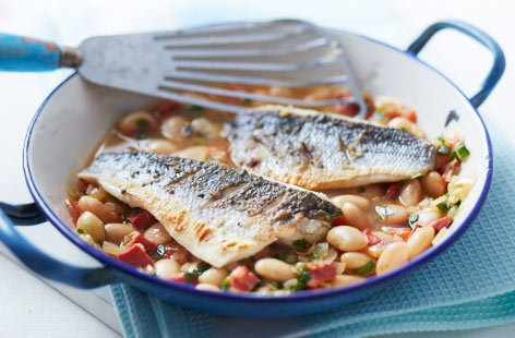 Sea bass with chorizo and butter beans