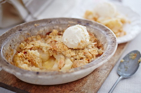 Pear and almond crumble recipe