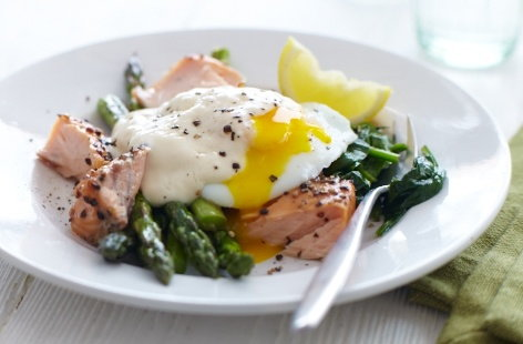Roasted salmon with panfried asparagus and egg