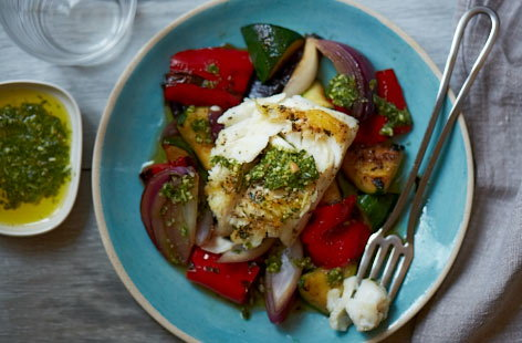 Seared cod with mediterranean vegetables recipe