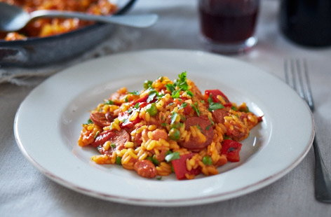 Smoky tomato and sausage Paella recipe