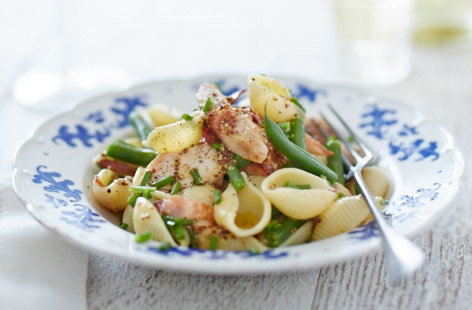 Warm chicken and bacon pasta salad