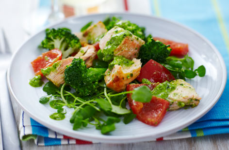 HEALTHY BroccoliSalmonSaladwithParsleyPumpkinSeedDressing Th