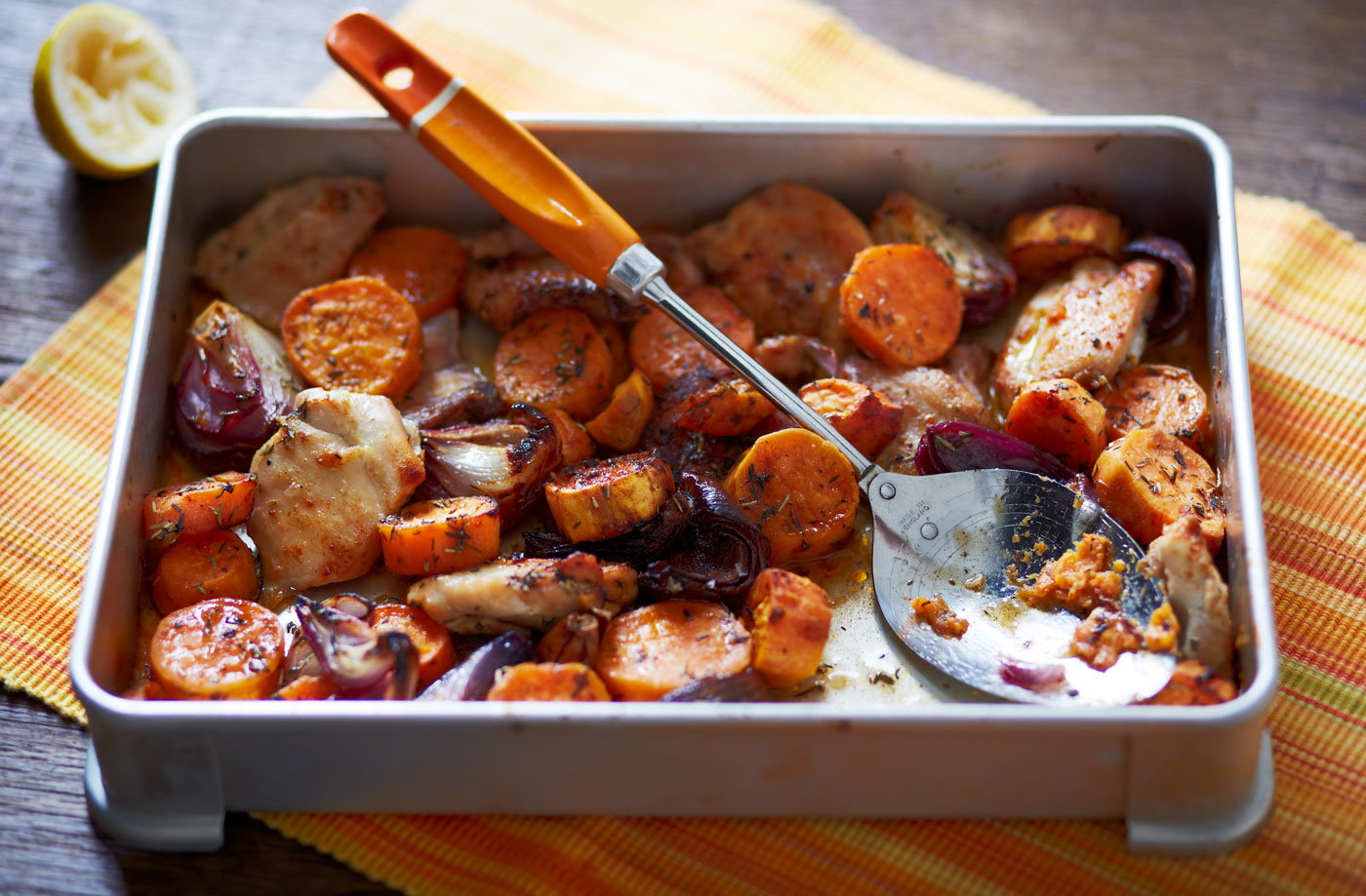 Healthy dinner healthy dinner ideas tesco real food chicken and sweet potato traybake forumfinder