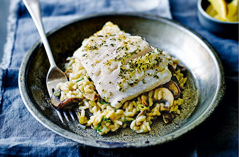 Mild, slightly sweet hake fillets are elevated beautifully by the gorgeous flavours in this super fish supper. Served with a healthy portion of mushroom and leek risotto, this wonderful fish is simply fried until golden