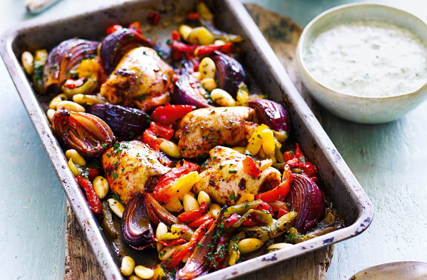 Harissa chicken bake with tzatziki recipe