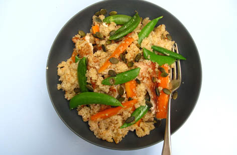 Harissa mustard turkey couscous