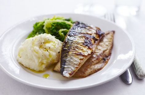 Grilled mackerel with horseradish mash