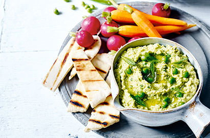 From classic chickpea houmous to broad bean and feta, whizzing up homemade dips takes no time at all