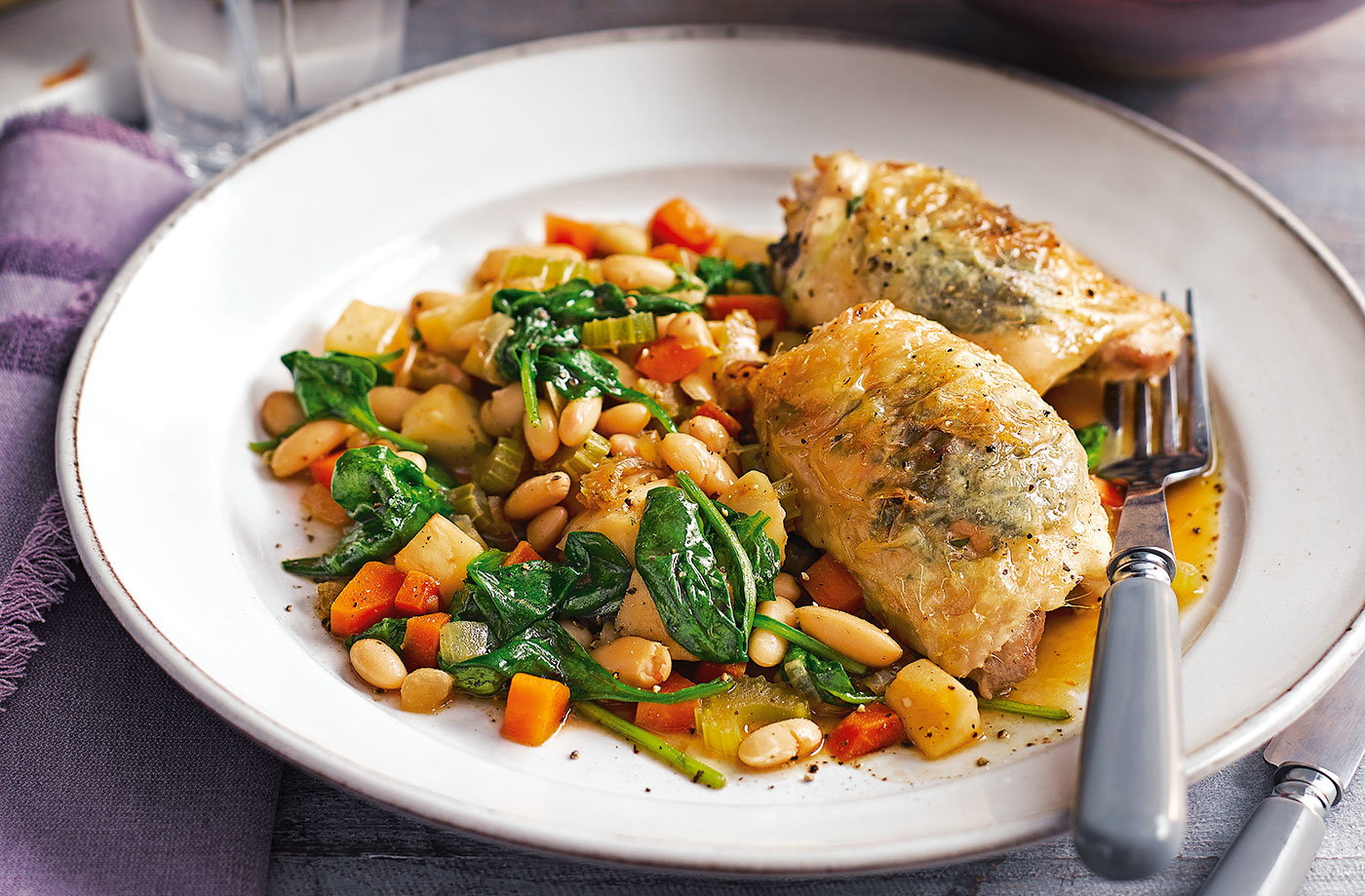 Herby roast chicken with white beans