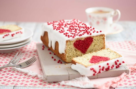 Hidden heart Loaf Cake on plate (t)