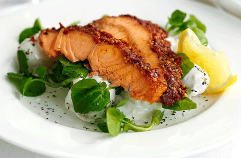 Hot smoked salmon, potato and watercress salad